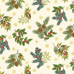 Ткань Deck the Halls Foliage Scatter Cream, Makower