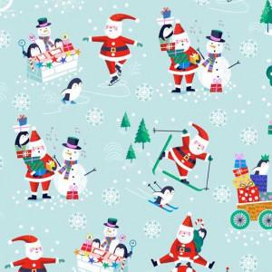 Ткань Jolly Santa Scenic Blue, Makower uk