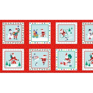 Ткань Jolly Santa Labels Red, Makower uk