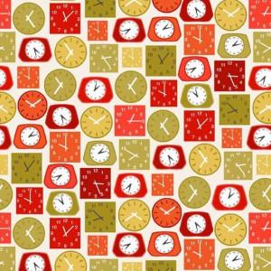 Ткань Lila's Kitchen Clocks Red Makower UK