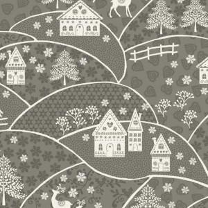 Ткань Scandi Landscape Silver, Makower