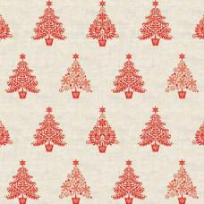 Ткань Scandi Trees Red, Makower