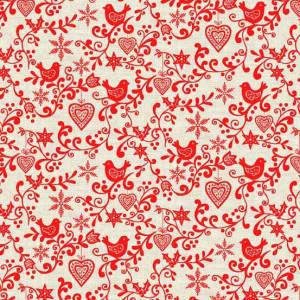Ткань Scandi Scroll Red, Makower