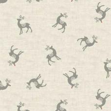 Ткань Scandi Reindeer Silver, Makower