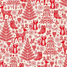 Ткань Scandi 2019 Forest Animals Red, Makower