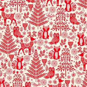 Ткань Scandi 2019 Forest Animals Red, Makower