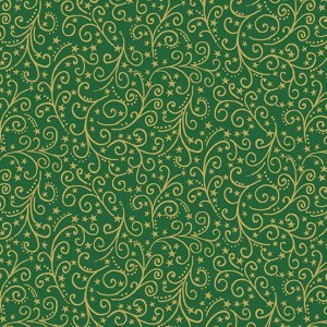 Ткань Twelve Days of Christmas Scroll Green, Makower