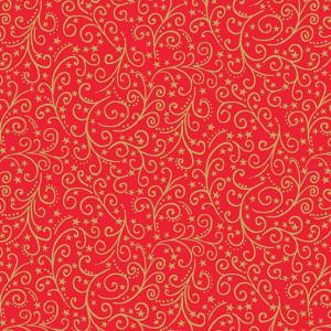 Ткань Twelve Days of Christmas Scroll Red, Makower