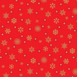 Ткань Twelve Days of Christmas Snowflake Red, Makower