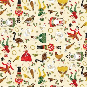 Ткань Twelve Days of Christmas Twelve Days Icons Cream, Makower