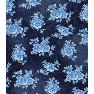 Ткань Buttercream™ Poppy Collection Cotton Fabric-Tonal Floral Navy