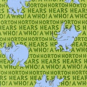 Ткань Horton Hears a Who - Green, Dr. Seuss Robert Kaufman Fabrics