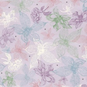 Ткань MIDNIGHT GARDEN SKETCHED FLORAL LIGHT LILAC, Quilting Treasures