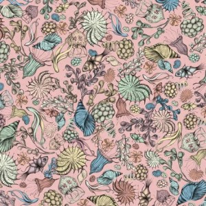 Ткань MIDNIGHT GARDEN PACKED FLOWERS PINK, Quilting Treasures