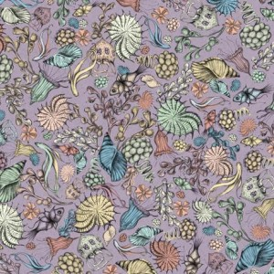 Ткань MIDNIGHT GARDEN PACKED FLOWERS LILAC, Quilting Treasures