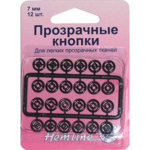Кнопки пришивные черные из нейлона размер 7 мм от Hemline