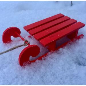 Елочное украшение Сани цвет Красный размер 17 см