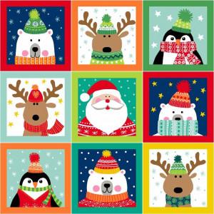 Ткань Novelty Christmas Labels Makower UK