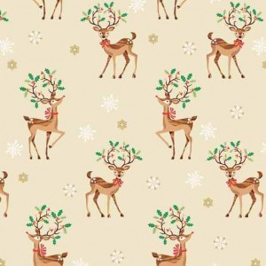 Ткань Traditional Metallic Christmas Reindeer Scatter Multi Makower UK