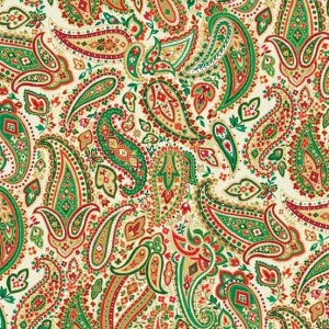 Ткань Traditional Metallic Christmas Paisley Cream Makower UK