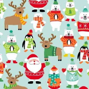 Ткань Novelty Christmas Scatter Turquoise Makower UK