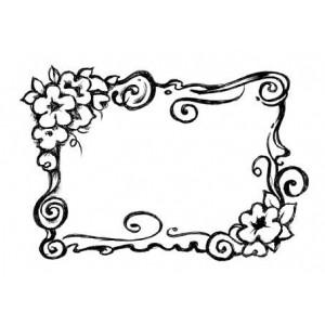 Штамп  резиновый на деревянной основе Cornicetta fiori от Stamperia