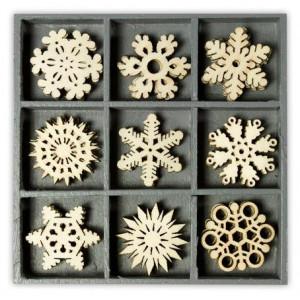 Набор деревянных украшений в коробочке Снежинки  от Knorr Prandell