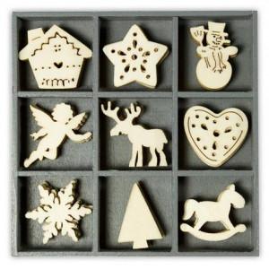 Набор деревянных украшений в коробочке Рождественские элементы 2 от Knorr Prandell