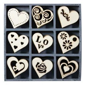 Набор деревянных украшений в коробочке  Сердца от Knorr Prandell