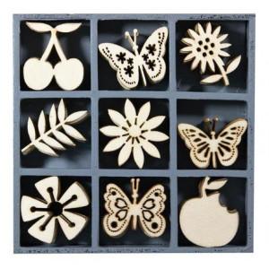 Набор деревянных украшений в коробочке Фрукты и бабочки от Knorr Prandell