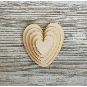 Набор декоративных элементы Сердечки круглые от Woodbox