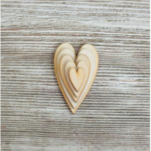 Набор декоративных элементы  Сердечки вытянутые от Woodbox