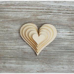 Набор декоративных элементы  Сердечки классика от Woodbox