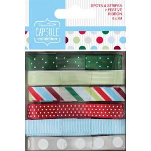 Набор лент Festive Collection Spots & Stripes от Docrafts