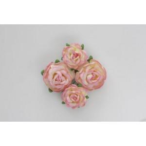 Цветы чайной розы цвет Розово-Желтые  размером 4 см  и 3 см от ScrapBerry's