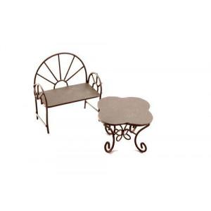 Металлические мини столик-ромашка и кресло коричневые от ScrapBerry's