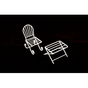 Металлические чайный столик и кресло белые от ScrapBerry's