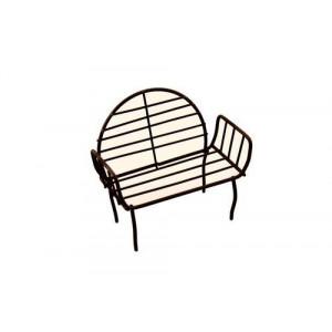 Металлическая мини скамейка с круглой спинкой коричневая  от ScrapBerry's