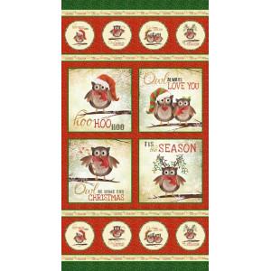Ткань купон Owl Be Home for Christmas цвет Красный от Elizabeth's Studio
