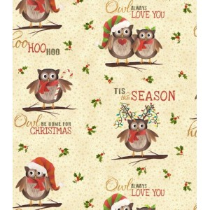 Ткань Owl Be Home for Christmas Cream, Elizabeth's Studio