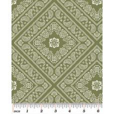 """Ткань Bandana Green из коллекции """"Bandana Florals"""" от Benartex"""