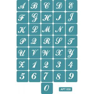 Трафарет Английский алфавит с цифрами (030)