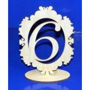 Цифра 6 в рамке на подставке 18 см