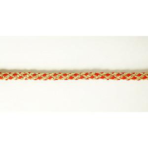 Шнур плетеный с люрексом золото/красный 7мм Pega