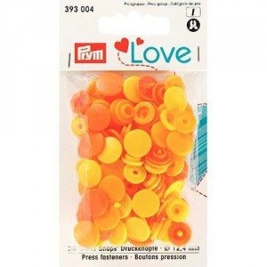 Kнопки пластиковые Color Snaps PrymLove Желтый/оранжевый 12.4 мм  PRYM