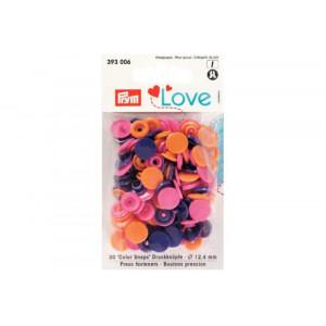 Kнопки пластиковые Color Snaps PrymLove Оранжевый/розовый/фиолетовый 12.4 мм  PRYM