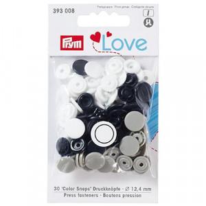 Kнопки пластиковые Color Snaps PrymLove Белый/серый/черный 12.4 мм  PRYM