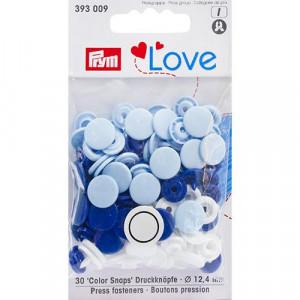 Kнопки пластиковые Color Snaps PrymLove Синий/голубой/белый 12.4 мм  PRYM