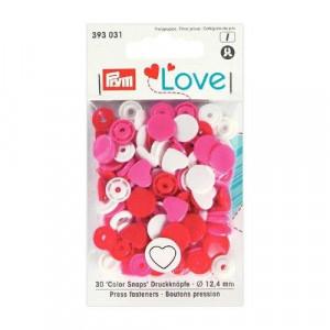 Kнопки пластиковые Сердце Color Snaps PrymLove Красный/розовый/белый 12.4 мм  PRYM