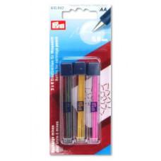 Запасные грифели для механического карандаша, 0.9 мм, желтый / черный / розовый Prym
